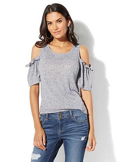 Ruffled Cold-Shoulder Top - New York & Company