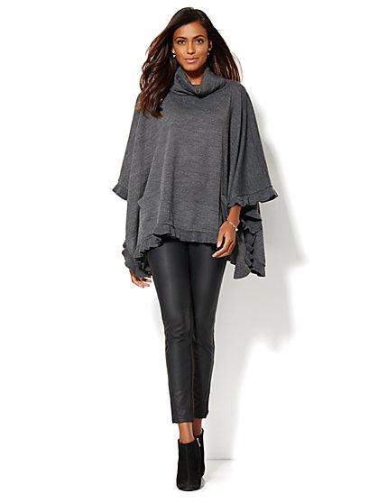 Ruffled Cowl-Neck Poncho - New York & Company