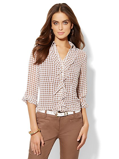 Ruffled Gingham Blouse - New York & Company