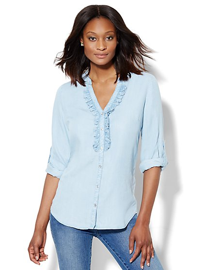 Ruffled Hi-Lo Ultra-Soft Chambray Shirt  - New York & Company