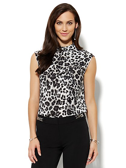 Ruffled Mock-Neck Blouse - Leopard  - New York & Company