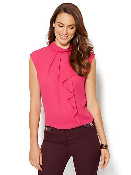 Ruffled Mock-Neck Blouse - Pink Hottie  - New York & Company