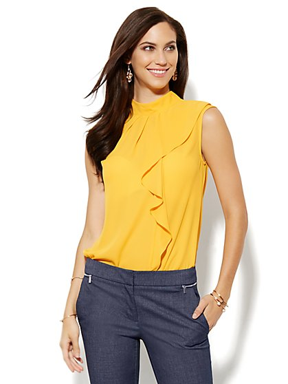 Ruffled Mock-Neck Blouse - New York & Company