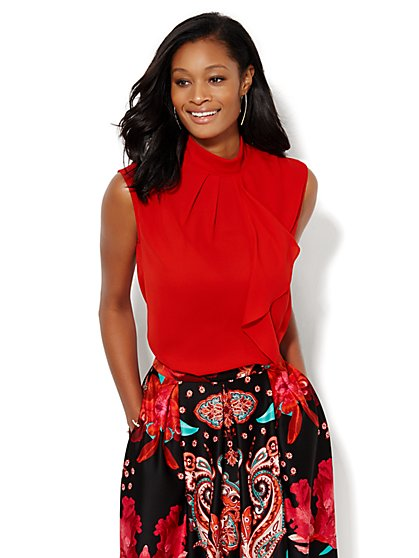 Ruffled Mock-Neck Shell - Red  - New York & Company