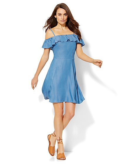 Ruffled Off-The-Shoulder Dress  - New York & Company