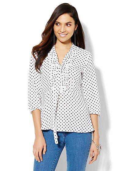 Ruffled Peplum Blouse - Polka-Dot  - New York & Company