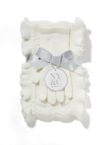Ruffled Scarf & Glove Gift Set  - New York & Company