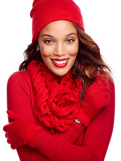 Ruffled Scarf, Hat & Gloves Gift Set - New York & Company
