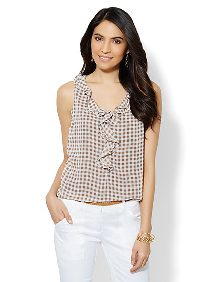 Ruffled Sleeveless Top - Gingham - New York & Company