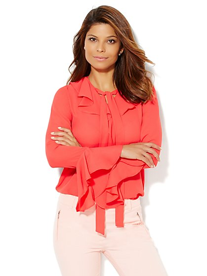 Ruffled Tie-Detail Blouse  - New York & Company