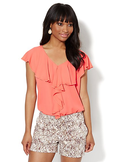 Ruffled V-Neck Blouse  - New York & Company