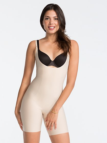 SPANX® Thinstincts Open-Bust Mid-Thigh Bodysuit - New York & Company
