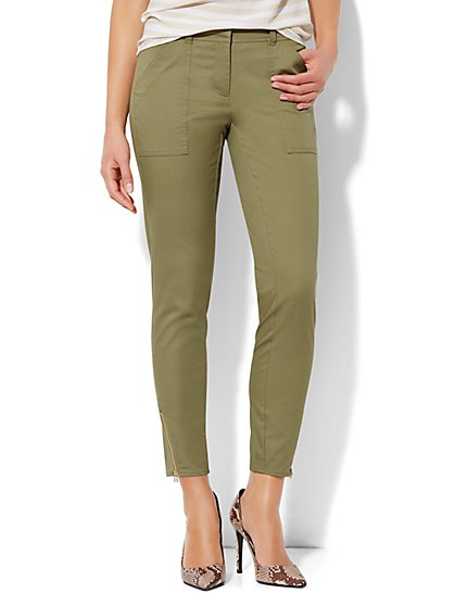 Safari Zip-Accent Slim Ankle Pant  - New York & Company