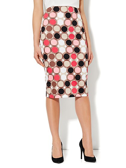 Sateen Dot-Print Pencil Skirt