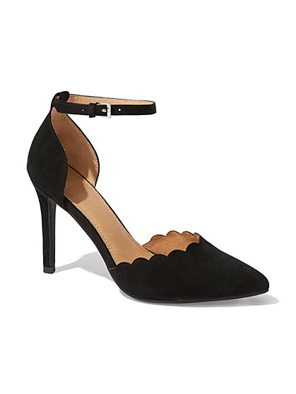 Scallop-Edge Ankle-Strap Pump  - New York & Company