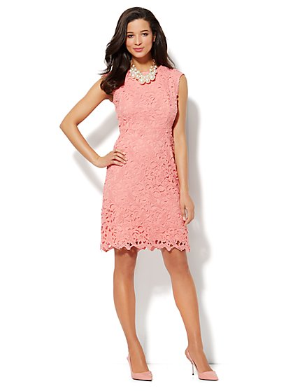 Scallop-Hem Lace Dress - New York & Company