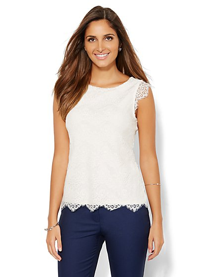 Scallop-Hem Lace Shell  - New York & Company