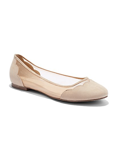 Scallop-Trim Mesh Ballet Flat  - New York & Company