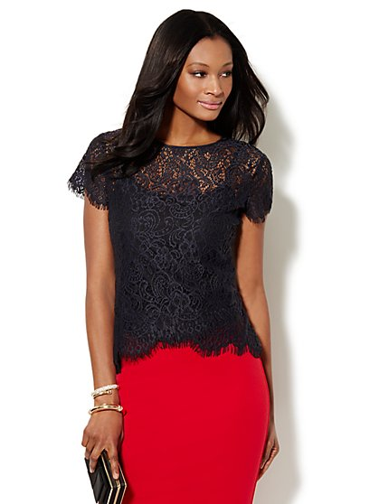 Scalloped Hi-Lo Open-Lace Tee  - New York & Company