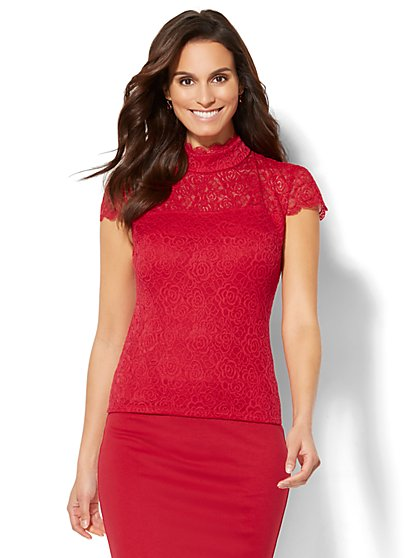 Scalloped Lace-Overlay Top - New York & Company