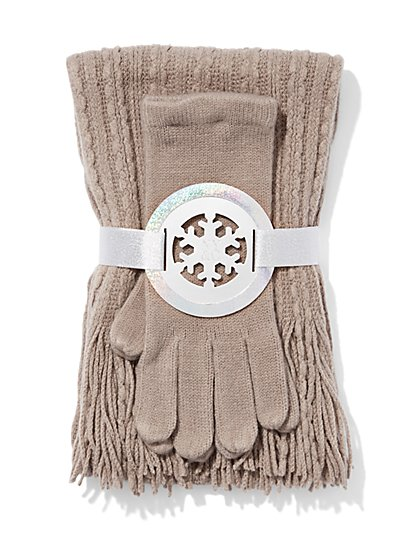 Scarf & Glove Gift Set - Cable-Knit - New York & Company
