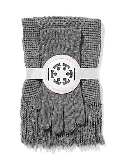 Scarf & Glove Gift Set - Diamond Stitch  - New York & Company