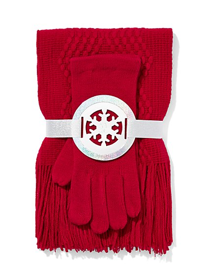 Scarf & Glove Gift Set - Diamond Stitch  - New York & Company