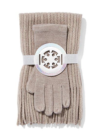 Scarf & Glove Gift Set - Lurex - New York & Company