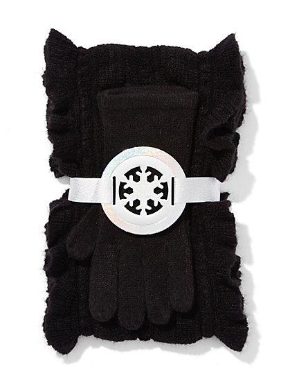 Scarf & Glove Gift Set - Ruffle - New York & Company