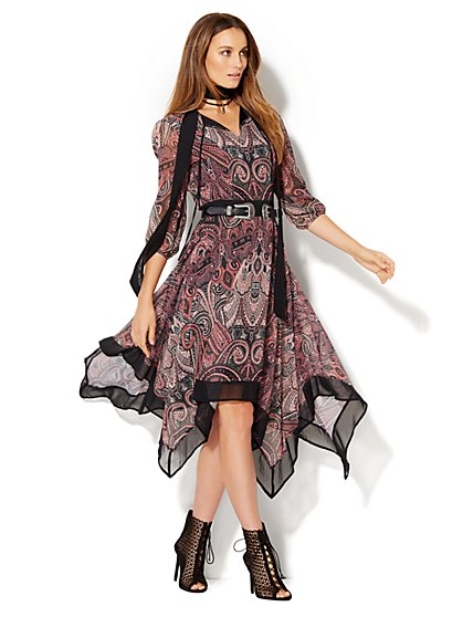 Scarf-Hem Dress  - New York & Company