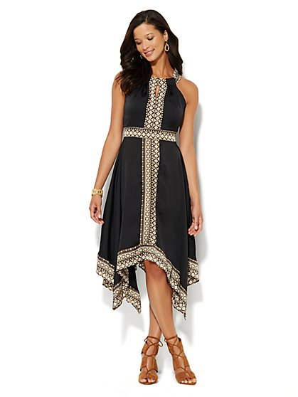 Scarf-Hem Halter Dress - Aztec Print  - New York & Company