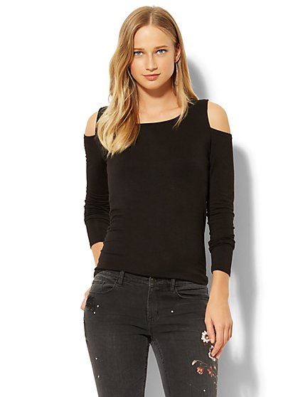 Scoopneck Cold-Shoulder Top - New York & Company