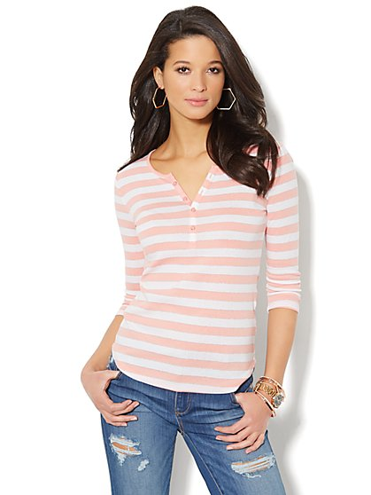 Scoopneck Henley Tee - Metallic Stripe  - New York & Company