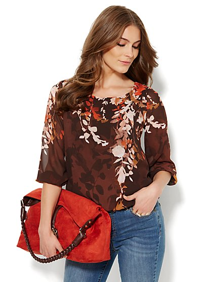 Scoopneck Keyhole Blouse - Floral  - New York & Company
