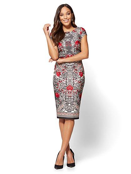 Scoopneck Sheath Dress - Black - Mixed Print - New York & Company