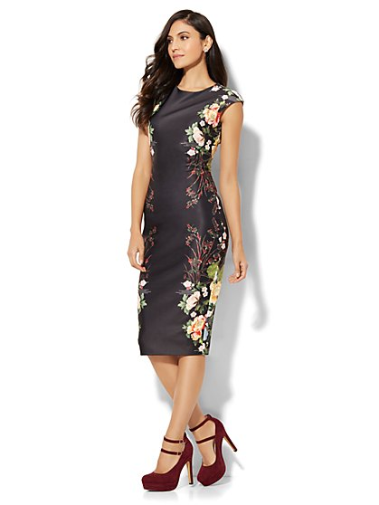 Scoopneck Sheath Dress - Floral - New York & Company