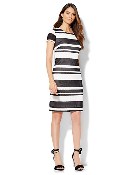 Scoopneck Short-Sleeve Lace Dress - Stripe  - New York & Company