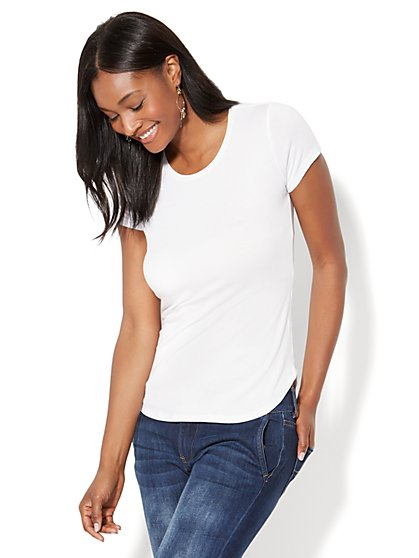 Scoopneck T-Shirt - White - New York & Company