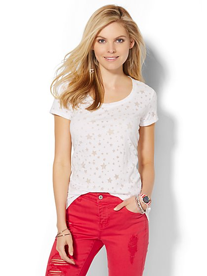 Scoopneck Tee - Burnout Star  - New York & Company