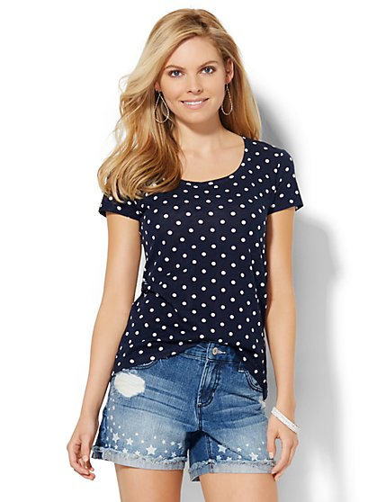 Scoopneck Tee - Polka-Dot Print  - New York & Company