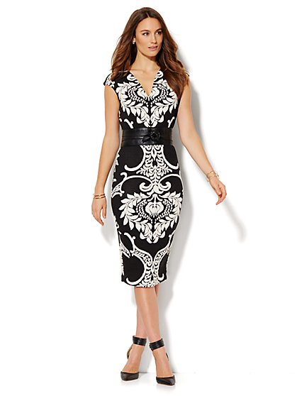Scroll-Jacquard Midi Sheath Dress - Petite  - New York & Company
