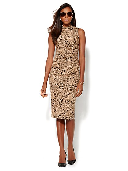Scroll Jacquard Mock-Neck Dress  - New York & Company