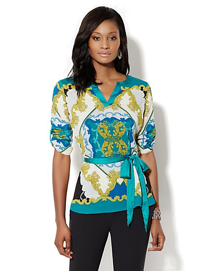 Scroll-Print Belted Tunic - New York & Company