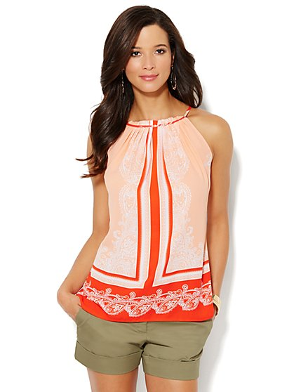 Scroll-Print Halter Top  - New York & Company