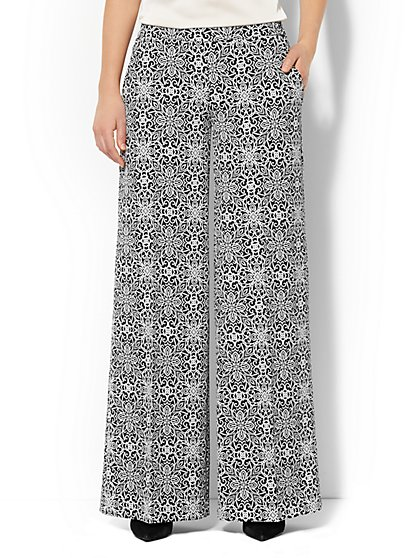 Scroll-Print Palazzo Soft Pant  - New York & Company