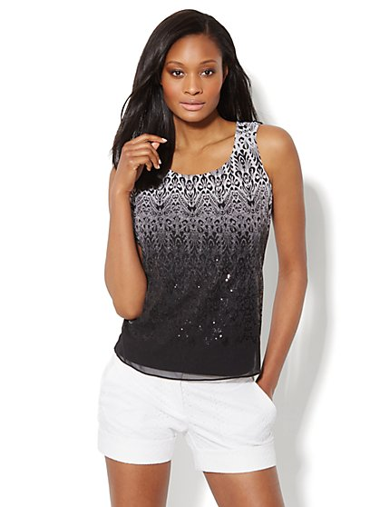 Scroll-Print Sparkle Top