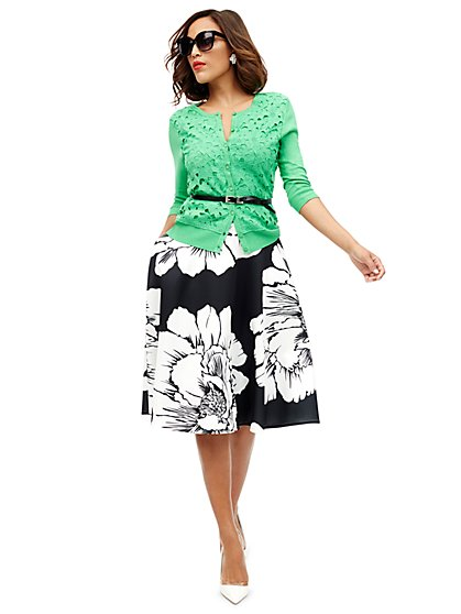 Scuba Circle Skirt - Floral - New York & Company