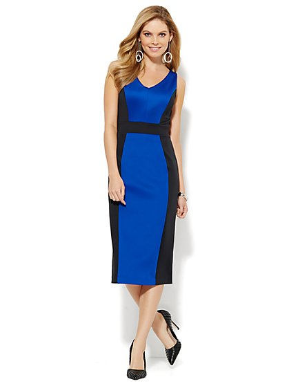 Scuba Colorblock Midi Dress - Sullivan Blue  - New York & Company