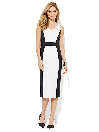 Scuba Colorblock Midi Dress - New York & Company