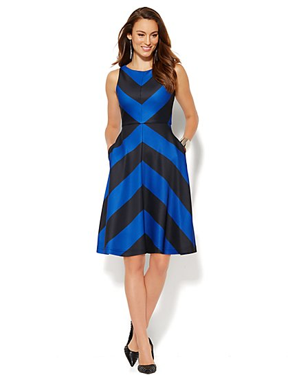 Scuba Flare Dress - Chevron Stripe  - New York & Company